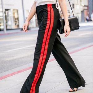 Wide leg high rise black side stripe track pants